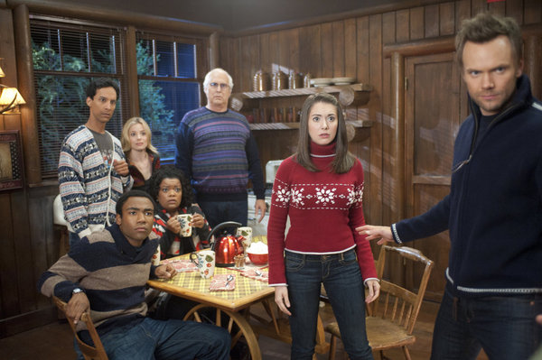 Fotograf Alison Brie, Chevy Chase, Danny Pudi, Donald Glover, Gillian Jacobs